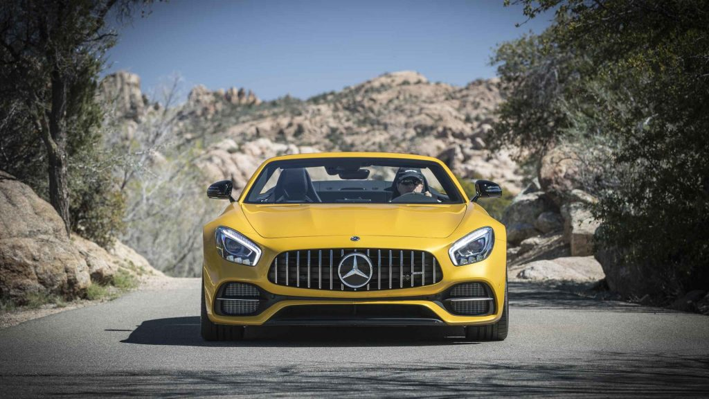 2017-mercedes-amg-gt-c-roadster-first-drive yellow front of
