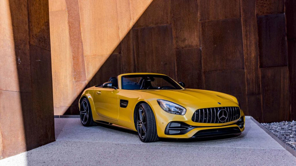 2017-mercedes-amg-gt-c-roadster-first-look yellow front of